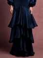 Plunging Neck Prom Paneled Tiered Solid Maxi Dress