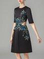 Black Wedding Evening A-Line Prom Elegant Midi Dress