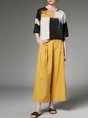 Color-block Geometric Casual Top With Pants Two-Piece Set