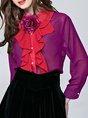 Stand Collar Long Sleeve Solid Shift Paneled Buttoned Work Top