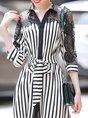 Shirt Collar A-Line Date Elegant Striped Paneled Guipure Lace Midi Dress