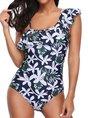 Summer Ruffled Push Up Floral-Print One-Piece Swimwear