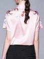 Pink Work Short Sleeve Shift Shirts & Tops