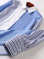 Striped Long Sleeve Color-Block Shirt Collar Striped Work Top