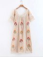 Holiday Boho A-Line Daily Casual Floral Embroidered Linen Maxi Dress