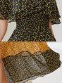 Cold Shoulder A-Line Date Color-block Holiday Maxi Dress