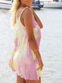 Round Neck Holiday Casual Ombre/tie-Dye Dress