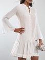 Stand Collar White Pleated Mermaid Date Midi Dress