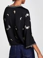 Black Embroidered 3/4 Sleeve Floral V Neck Casual Top