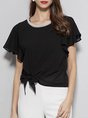 Summer Crew Neck Solid Frill Sleeve Casual Bow Top