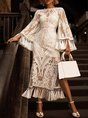 White Sheath Date See-Through Look Fringed Maxi Dress