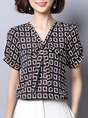 V Neck Short Sleeve Shift Bow Printed Graphic Summer Casual Top