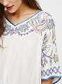 White Paneled Embroidered Floral Swing V Neck Half Sleeve Casual Top