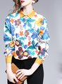 Shirt Collar Long Sleeve Floral Printed Buttoned Paneled Work Blouse