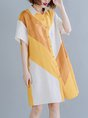 Shirt Collar Short Sleeve Shift Daily Color-Block Casual Midi Dress
