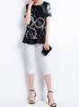 Black Abstract Printed Shift Crew Neck Short Sleeve Casual Top
