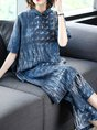 Abstract Printed Buttoned Pockets Casual Top With Pants Two Piece Set