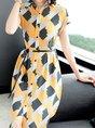 Shirt Collar Yellow Patchwork Casual A-Line Midi Dress