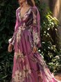 V Neck Purple Floral Printed Paneled A-Line Daily Holiday Maxi Dress