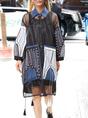 Shirt Collar See-Through Look Paneled Daytime Casual Midi Dress