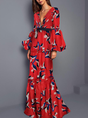 V Neck Red Statement Holiday Mermaid Daily Animal Maxi Dress