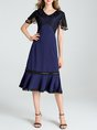 V Neck Dark Blue Prom Date Mermaid Prom Elegant Midi Dress