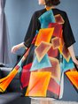 Summer Patchwork Printed Casual Half Sleeve Slit Kimono Outerwear