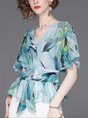 Summer V Neck Frill Sleeve Printed Floral Daytime Casual Blouse