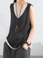 Crew Neck Sleeveless Solid Shift Summer Daytime Casual Tank Top