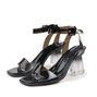 Black Chunky Heel Casual Open Toe Sandals