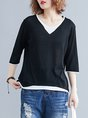 Shift Solid V Neck 3/4 Sleeve Paneled Summer Daytime Casual Top