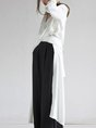 Stand Collar Long Sleeve Solid Shift Slit Daytime Statement Top