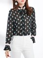 Printed Graphic Stand Collar Long Sleeve Shift Business Work Blouse