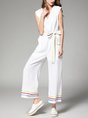 White Solid Shift Pockets V Neck Sleeveless Summer Casual Jumpsuit
