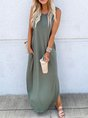 Plus Size Solid Casual  Round Neck Sleeveless Dress