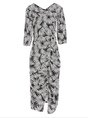 V Neck Black Leaf Printed Slit Sheath Party Midi Dress