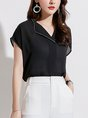 Black Solid Short Sleeve Shirt Collar Shift Summer Business Work Blouse