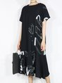 Summer Shift Crew Neck Printed Abstract Daytime Casual Midi Dress