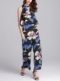 Summer Printed Graphic Cutout Halter Casual Sheath Jumpsuit