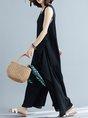 Summer Solid Black Crew Neck Sleeveless Zipper Casual Jumpsuit