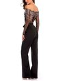 Summer Casual Black Shimmer Off Shoulder See-Through Look Jumpsuit