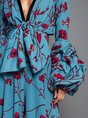 Blue Balloon Sleeve Sheath Elegant Party Evening One-Piece Jumpsuit