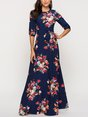 Floral Printed A-Line Holiday Elegant Paneled Maxi Dress