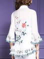 Casual Frill Sleeve Floral-Print V Neck Outerwear Kimono