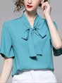 Summer Shift Date Work Tie-Neck Short Sleeve Solid Blouse