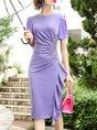 Purple Ruffled Sheath Date Shimmer Paneled Elegant Solid Midi Dress