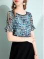 Casual Daytime Frill Sleeve Printed Polka Dots Top With Skirt Two-Piece Set