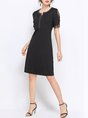 Summer Casual Shift Daytime Daily Solid Black Midi Dress