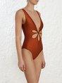 Summer Push Up V Neck Cutout Sleeveless One-Piece Swimwear