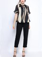 Summer Black Abstract Casual Short Sleeve Stand Collar Blouse